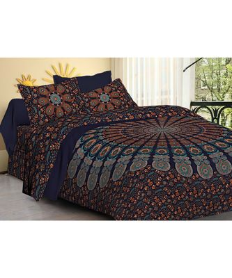 cotton multicolour printed barmeri double bed sheets with pillow cover