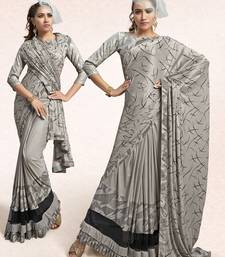Grey printed lycra saree with blouse