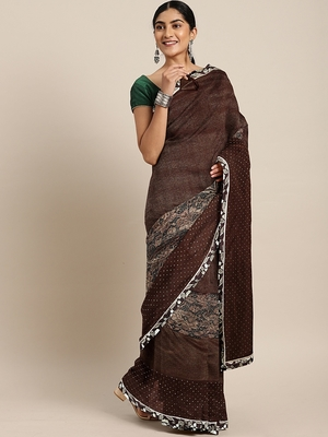 Brown plain lycra saree with blouse