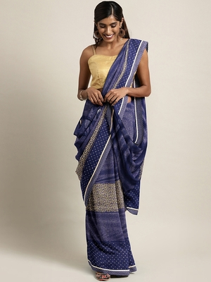 Blue plain lycra saree with blouse