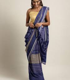 Blue plain lycra saree with blouse