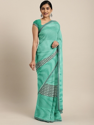 Sky blue plain lycra saree with blouse