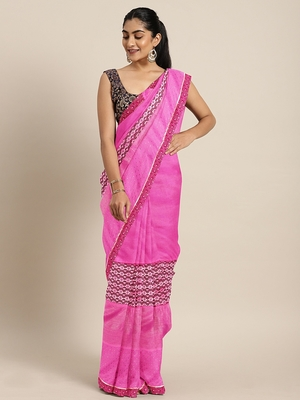 Pink plain lycra saree with blouse
