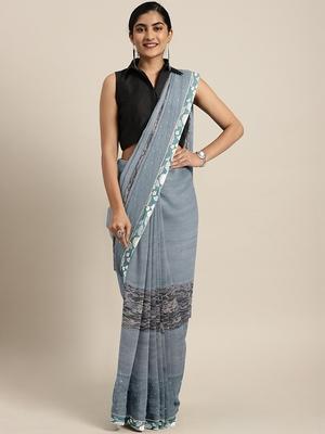 Grey plain lycra saree with blouse