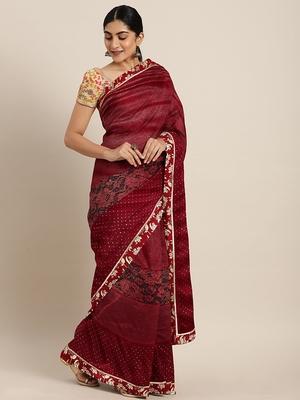 Golden plain lycra saree with blouse