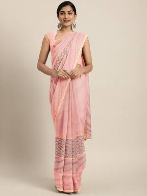 Peach plain lycra saree with blouse
