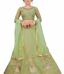 Green hand embroidery  chanderi semi stitched lehenga