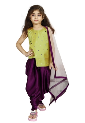 Kids Musterd Top And Purple Patiala Salwar Suit Dress For Girls