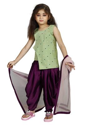 Kids Pista Top And Purple Patiala Salwar Suit Dress For Girls