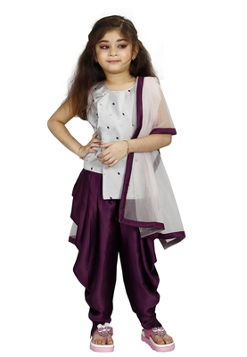 Kids Silver Top And Purple Patiala Salwar Suit Dress For Girls