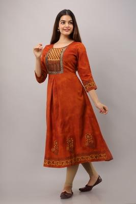Maroon printed rayon ethnic-kurtis