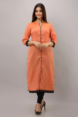 Orange plain cotton ethnic-kurtis