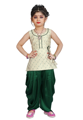 Kids Cotton Silk White Top And Green Patiala Salwar Suit Dress For Girls