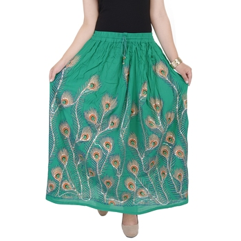 Green embroidered cotton skirts
