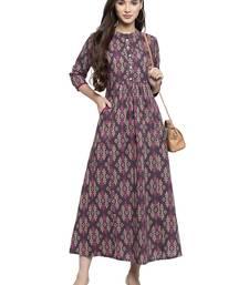 Indibelle Grey printed cotton long-dresses