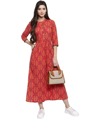 Multicolor printed cotton long-dresses