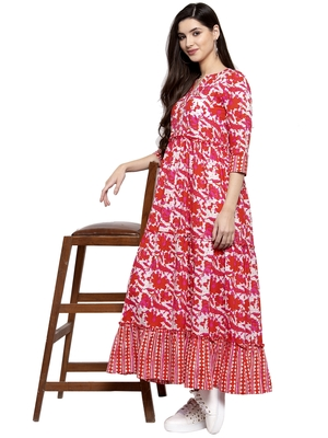 Indibelle Red printed cotton long-dresses