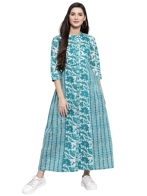 Indibelle Turquoise printed cotton long-dresses