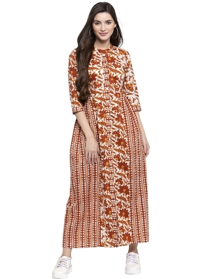 Indibelle Brown printed cotton long-dresses
