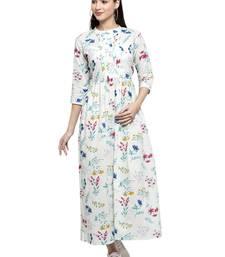 Indibelle Green printed cotton long-dresses
