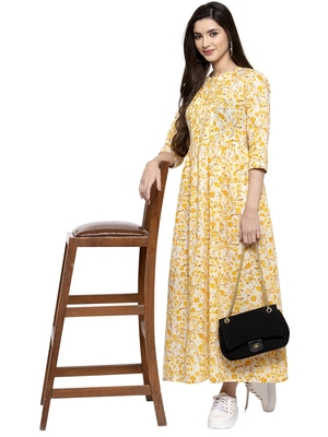 Yellow printed cotton long-dresses