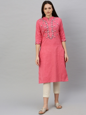 Coral embroidered cotton ethnic-kurtis