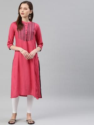 Pink embroidered viscose rayon ethnic-kurtis