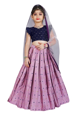 Kids Cotton Silk Blue Blouse And Pink Lehenga Choli Set