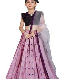 Kids Maroon Blouse And Pink Lehenga Choli Set For Girls