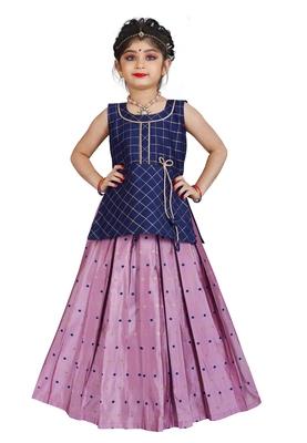 Kids Blue Top And Pink Lehenga Choli Set For Girls