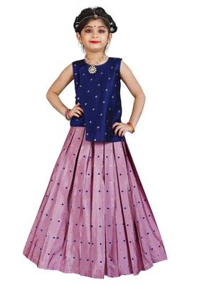 Kids Blue Top And Pink Lehenga Choli Set