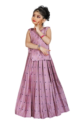 Kids Pink Cotton Silk Lehenga Choli Set For Girls