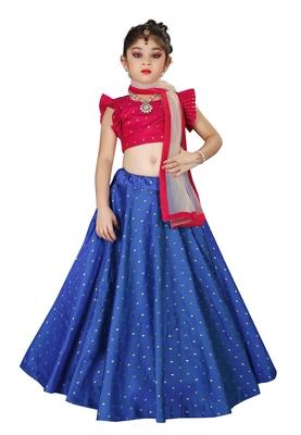 Kids Royal Blue Lehenga Choli Set For Girls
