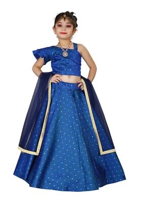 Kids Cotton Silk Royal Blue Designer Lehenga Choli Set