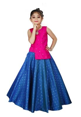 Kids Pink Top And Royal Blue Lehenga Choli Set For Girls