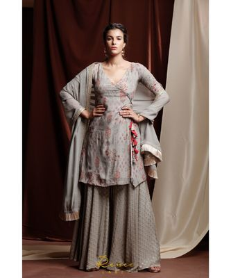 grey embroidered crepe kurta sets