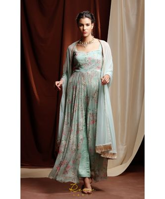 turquoise embroidered georgette kurta sets