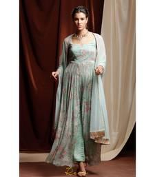 turquoise embroidered georgette kurta sets