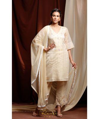 gold embroidered cotton kurta sets