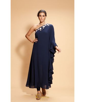 blue embroidered georgette kurta sets