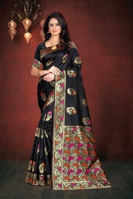 Black hand woven banarasi silk saree with blouse