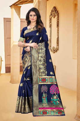 Navy blue hand woven banarasi silk saree with blouse