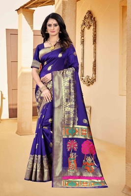 Purple hand woven banarasi silk saree with blouse