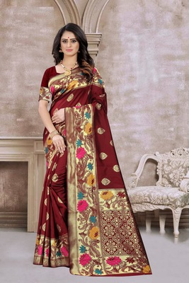 Maroon hand woven banarasi silk saree with blouse