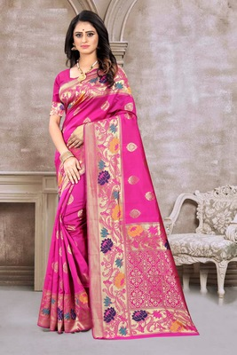 Pink hand woven banarasi silk saree with blouse