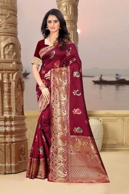 Maroon hand woven banarasi silk saree with blouse