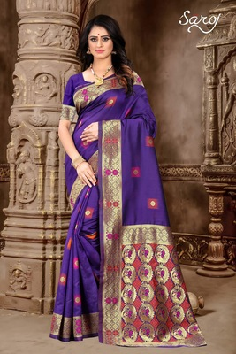 Purple hand woven banarasi silk saree with blouse