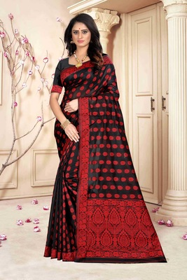 Black hand woven banarasi silk saree with blouse