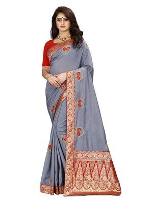 Grey hand woven banarasi silk saree with blouse