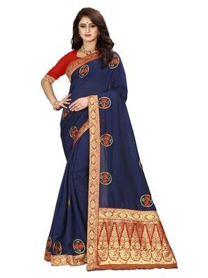 Navy blue hand woven banarasi silk saree with blouse